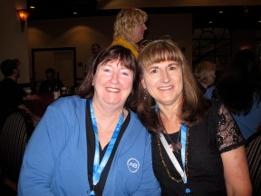 Terri with new AB friend with similar hearing loss and CI story