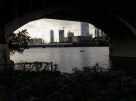 Austin City skyline through tunnel
