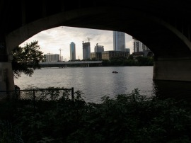 Austin City skyline through tunnel