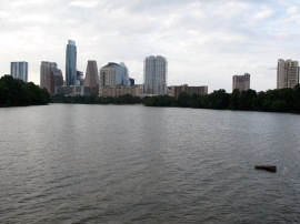 Austin TX skyline from Lady Bird Lake